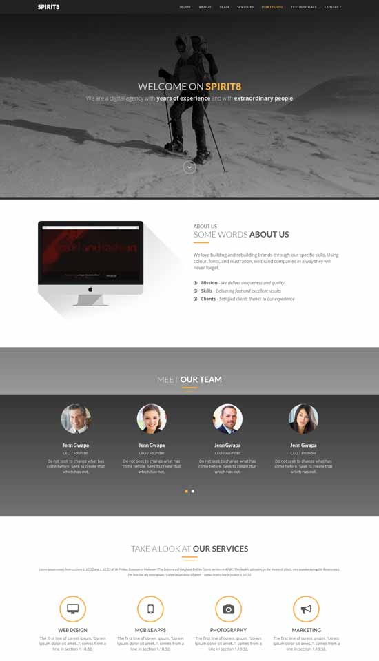spirit8 digital bootstrap theme