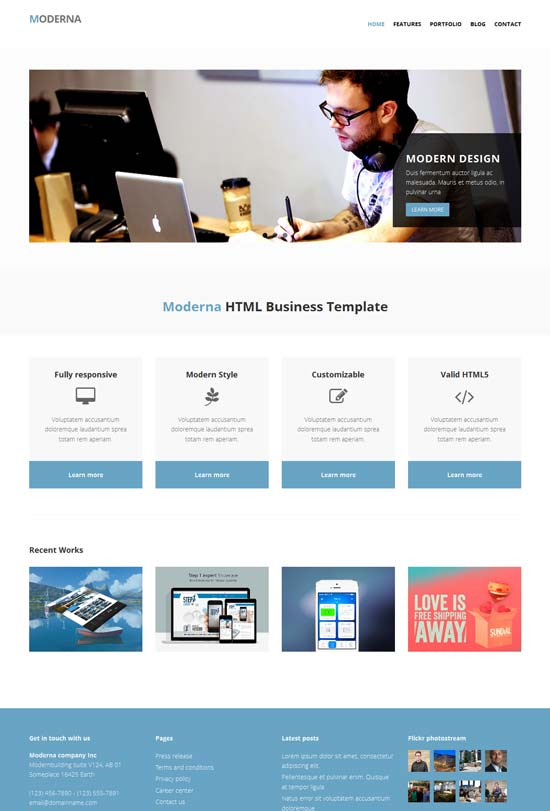 moderna free html5 template for corporate