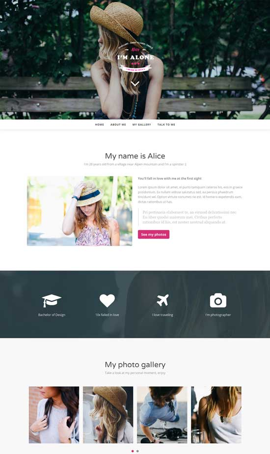 lonely personal html bootstrap theme