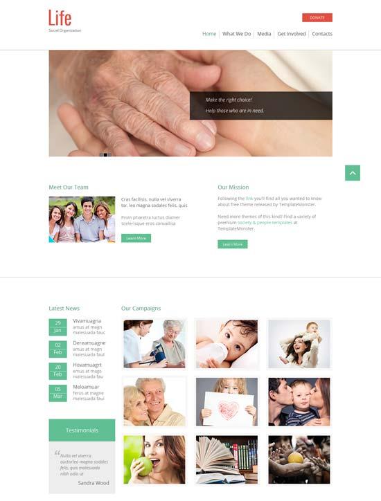 social organization html5 website theme