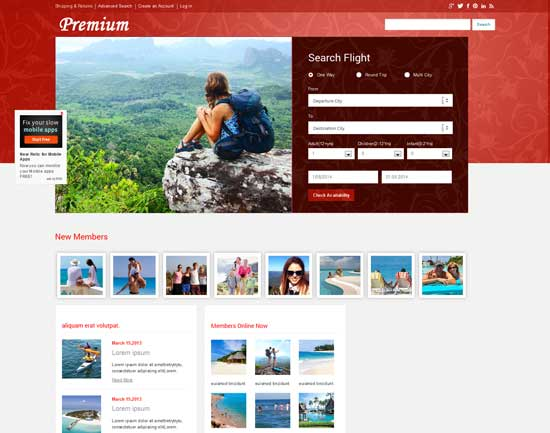 Free-Premium-travel-guide-Mobile-Website-Template