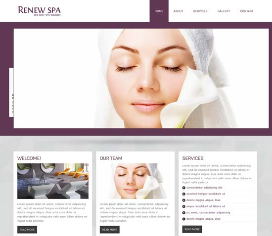 Free Responsive Spa Beauty Website Template