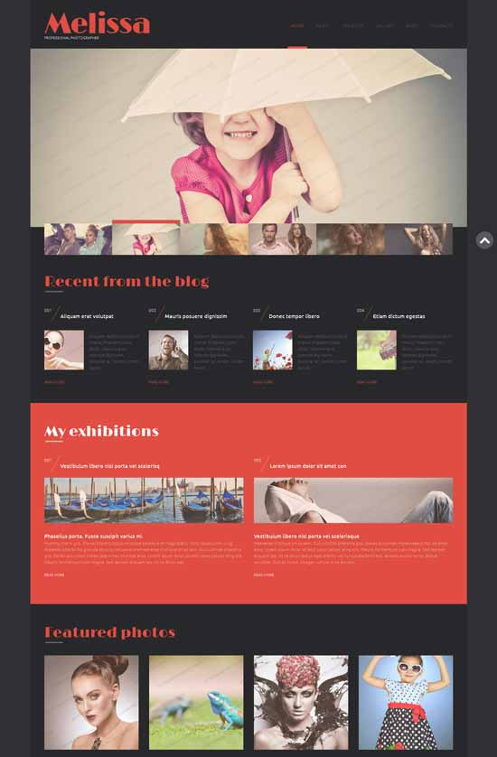 melissa wordpress photo site theme