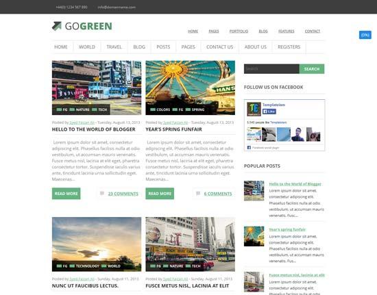 GoGGoGreen responsive blogger template