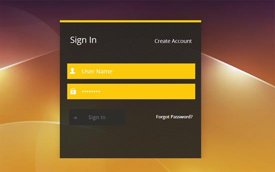 Golden-Login-Form-Template