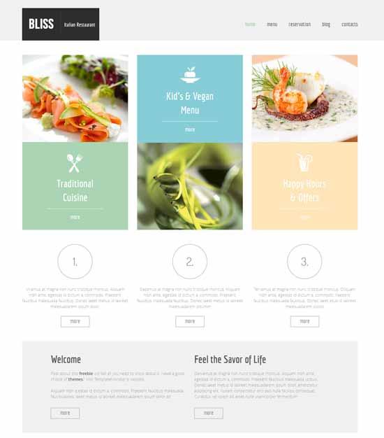 restaurant website html5 theme