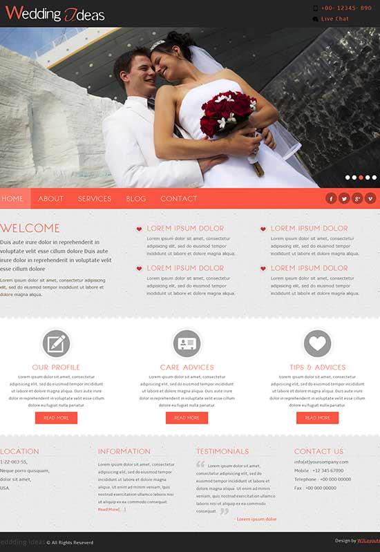 HTML Wedding Ideas Website Template