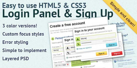 Easy to use HTML5 CSS3 Login Panel