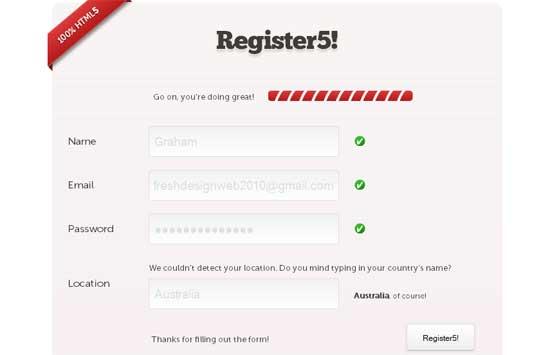 Register5 HTML5 Register Form