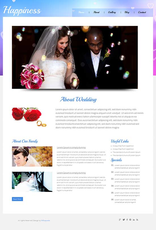 Happiness css wedding website template