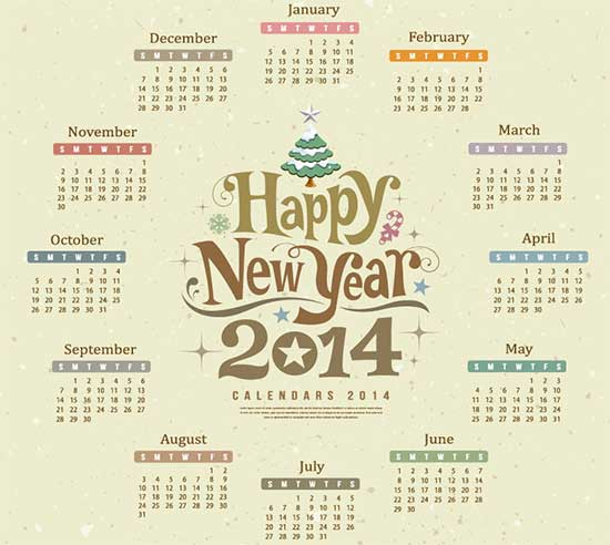 Free Happy New Year Calendar 2014