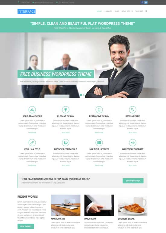 interface wordpress flat theme