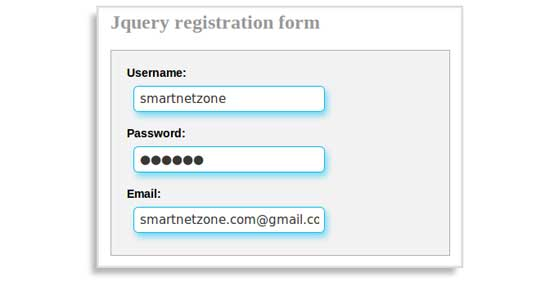 Jquery Registration Form with elastic effect