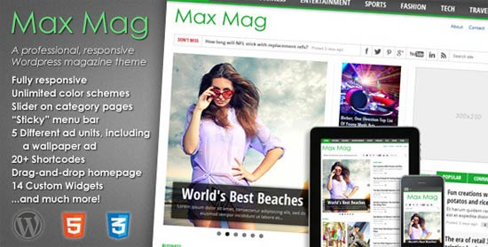 Max Mag fully-responsive magazine WordPress themes