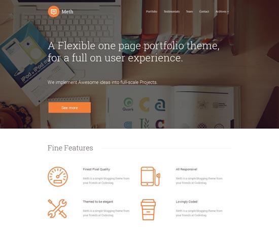 Meth-Minimal-One-Page-Portfolio-Theme