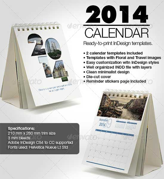 Minimalist 2014 Calendar InDesign Templates