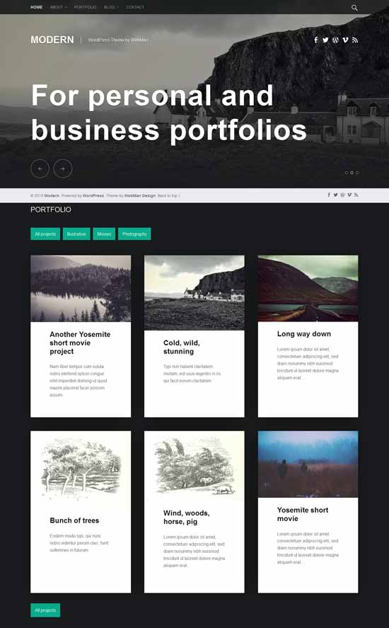 modern wordpress portfolio theme
