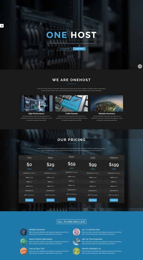 One-Page-WordPress-Hosting-Theme