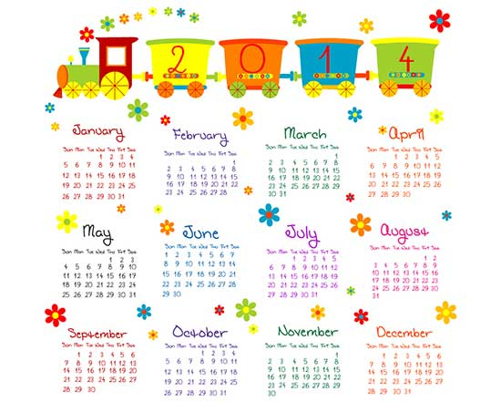 Free Playful 2014 Calendar Vector