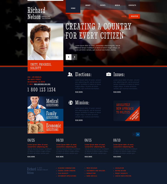 Political Candidate Responsive Website Template 45312