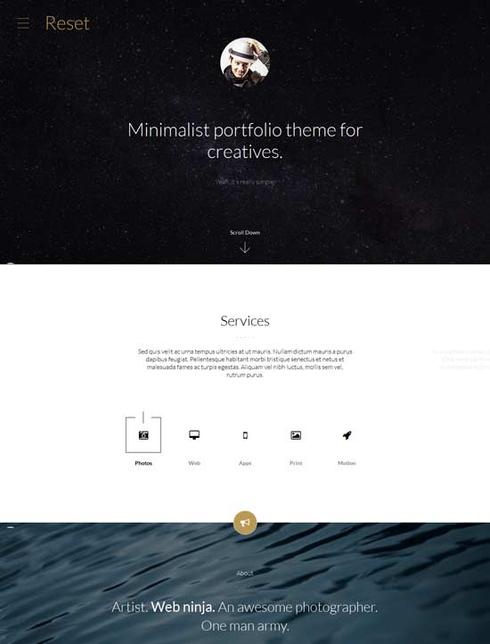 Reset-Minimalistic-Portfolio-Theme