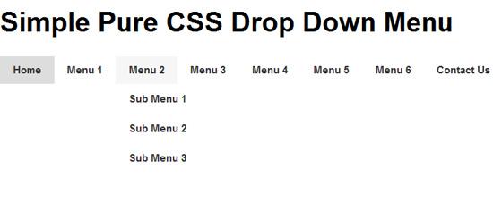 Simple Pure CSS Drop Down Menu