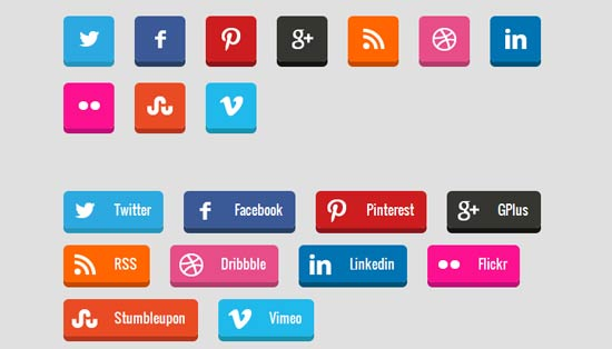 3D Social Media Buttons with CSS3