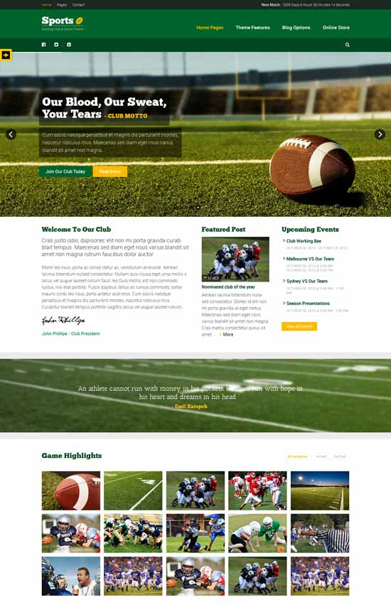 Sport-WordPress-Club-Theme