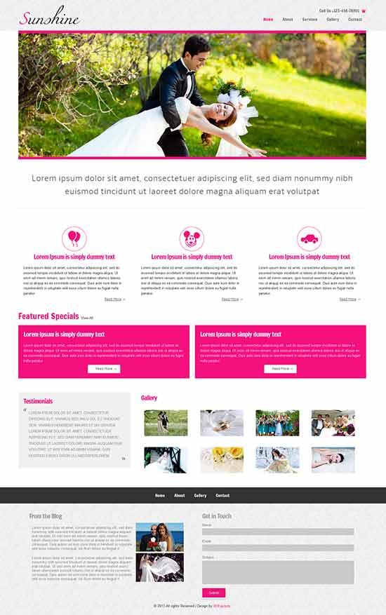 Sunshine Wedding Agency Website Template