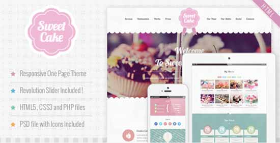 Sweet Cake Responsive HTML5 One Page Theme