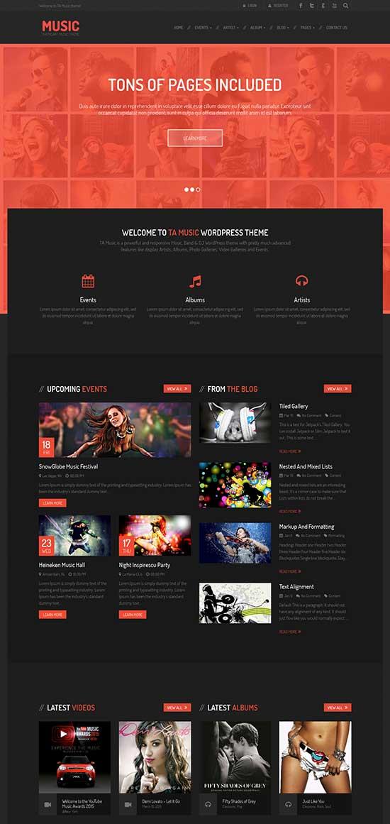 Free Music Band & Musician WordPress Theme