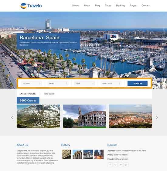 Travel - Responsive Booking WordPress Theme