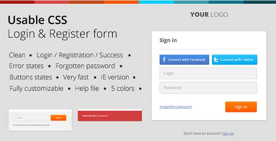 Usable CSS Login & Register Form