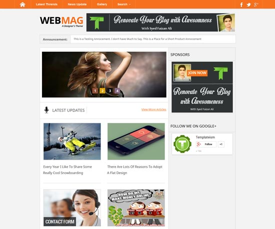 Free WebMag Blogger Template