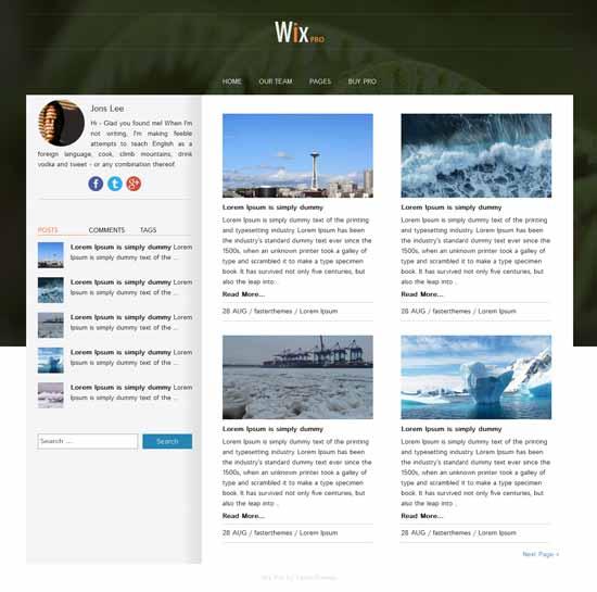 Wix-Free-Twitter-bootstrap-wordpress-theme