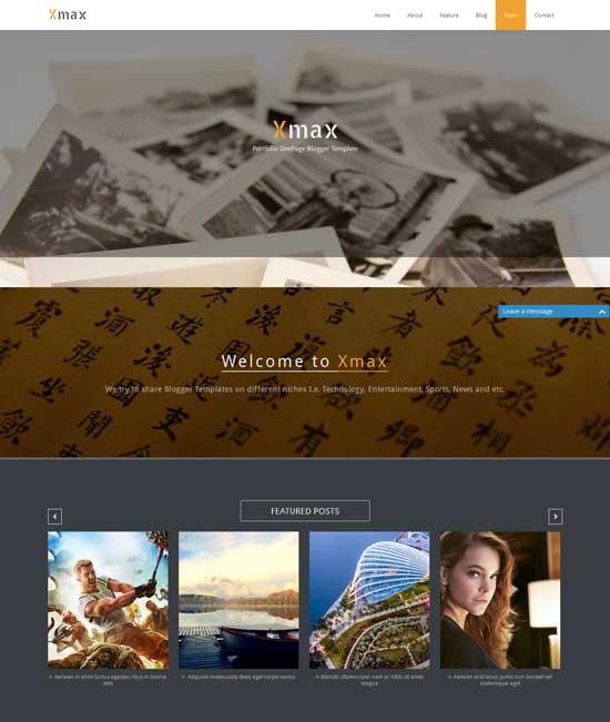 Xmax-free-one-page-portfolio-blogger-template
