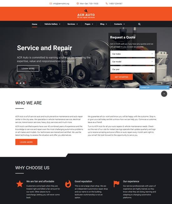 acr auto bootstrap car repair template