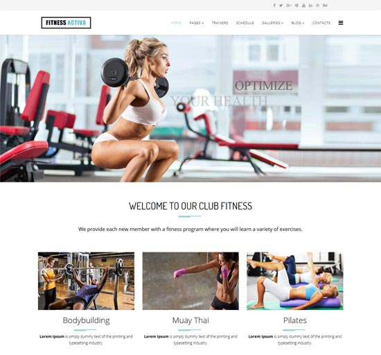 activa fitness centers wordpress theme