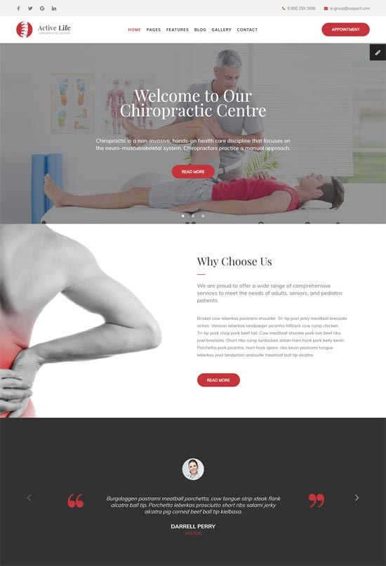 active life spa massage salon html template
