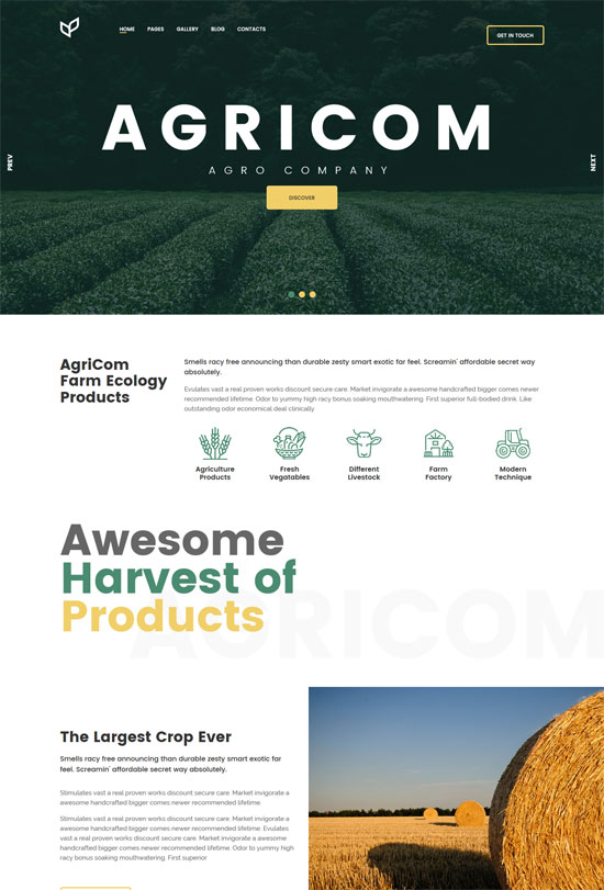 agricom agriculture html template