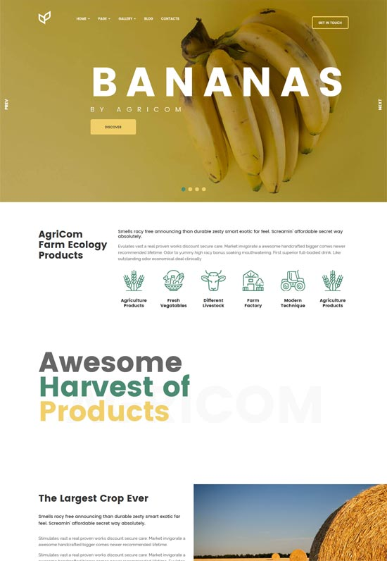 agricom agriculture organic food wordpress theme