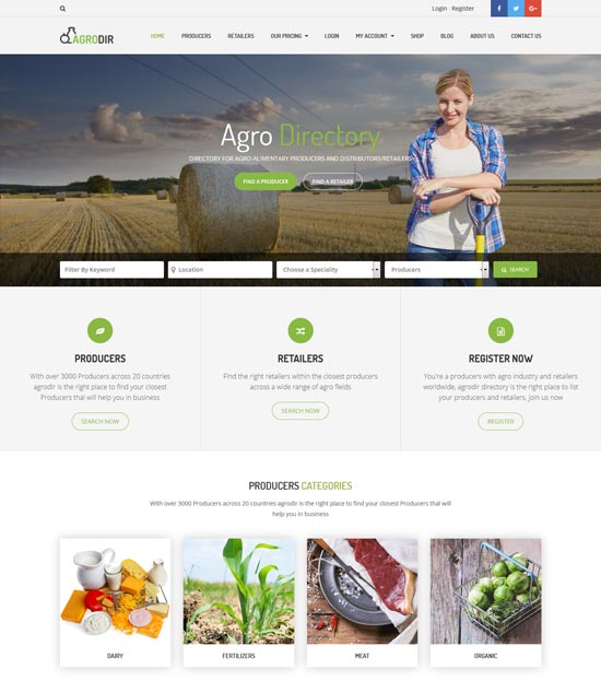 agrodir directory WordPress theme