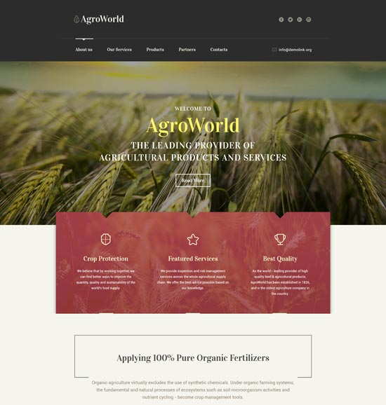 agroworld agriculture website template