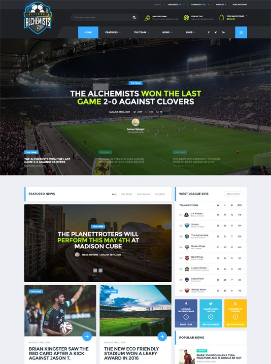 alchemists soccer sports news html template