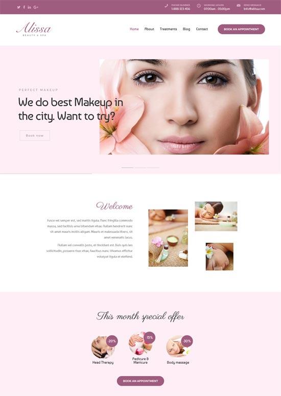 alissa wellness spa beauty wordpress theme