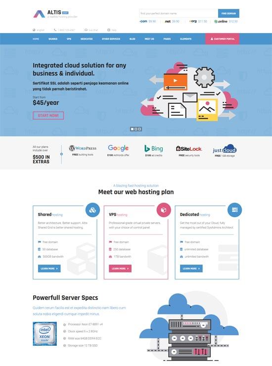 altis hosting html template