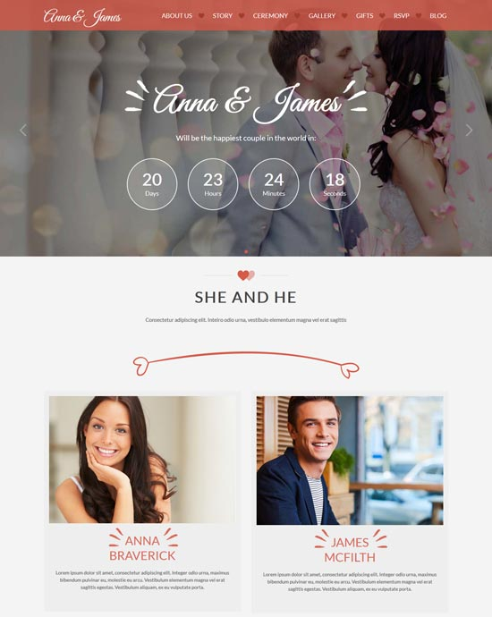 amore wedding html5 bootstrap template