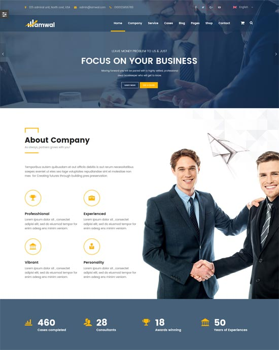 amwal consulting business accounting wordpress theme