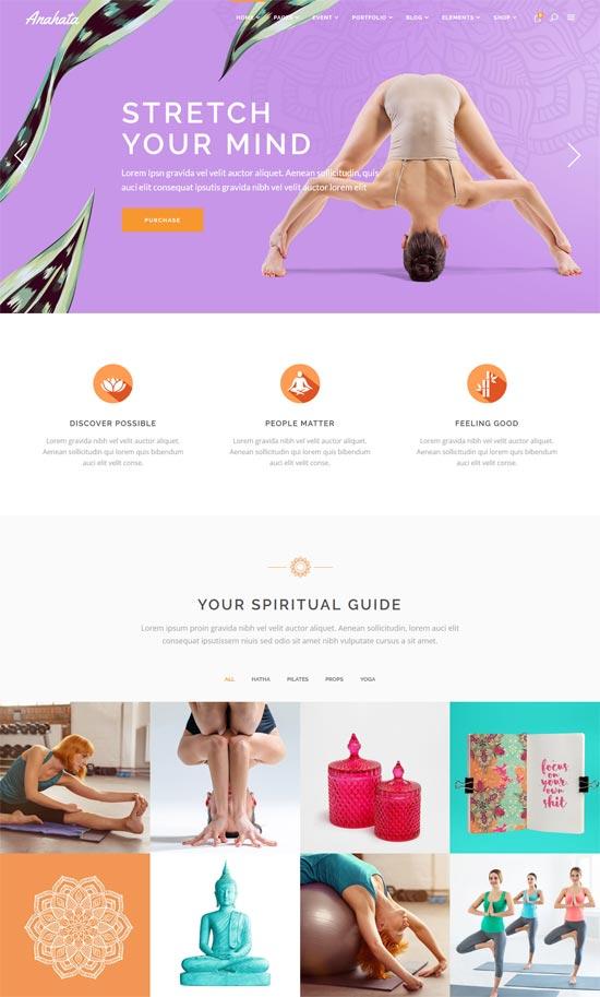 anahata yoga fitness lifestyle wordpress theme
