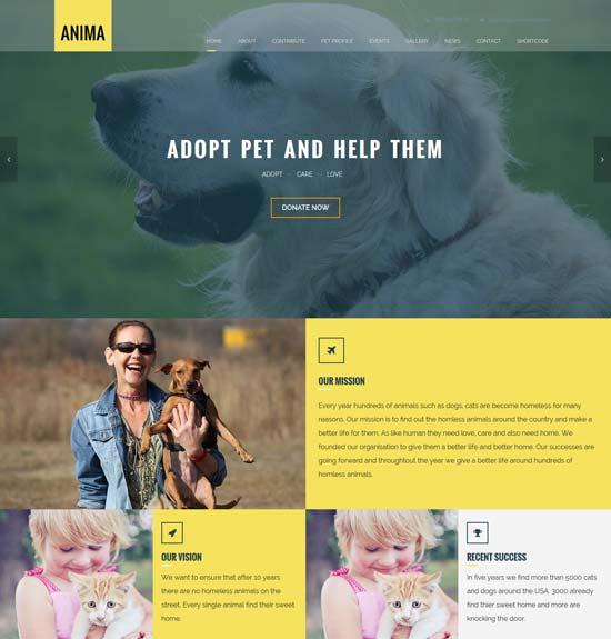 anima pet rescue shelter template